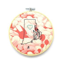 RI Heart Sampler Hoop - Pink Birds & Balloons
