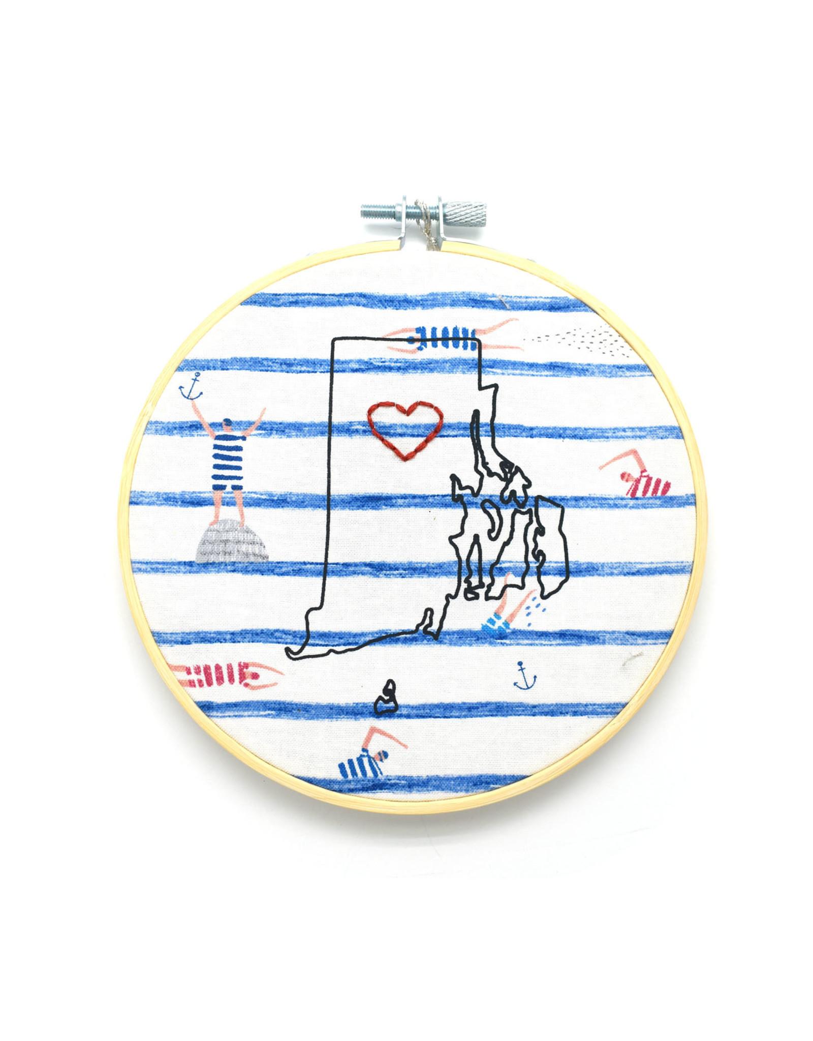 RI Heart Sampler Hoop - Swimmer's Stripes