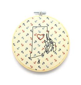 RI Heart Sampler Hoop - Tan Anchors