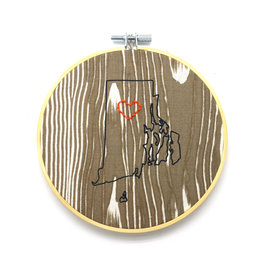 RI Heart Sampler Hoop - Woodgrain