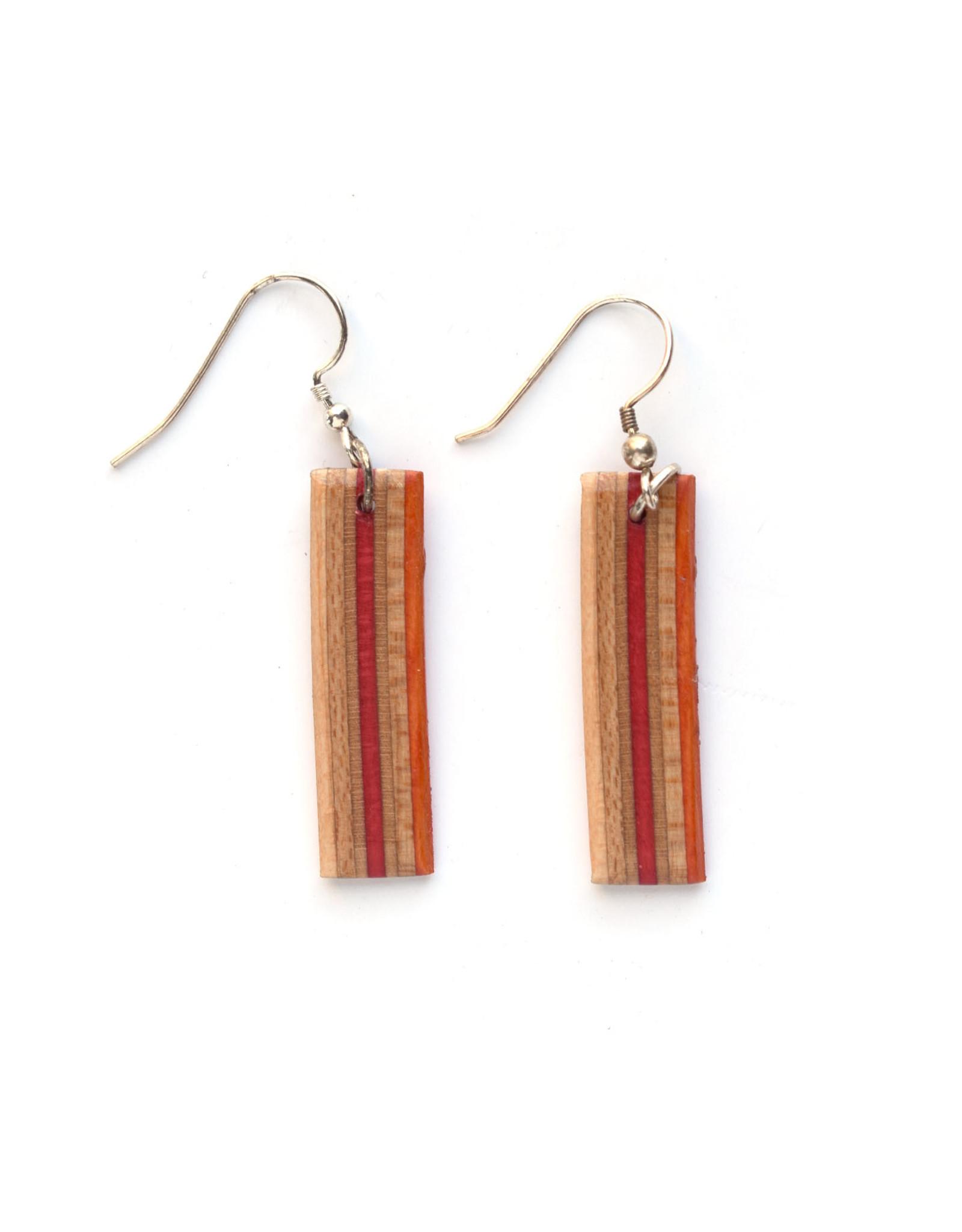Skatedeck Earrings - Red and Orange