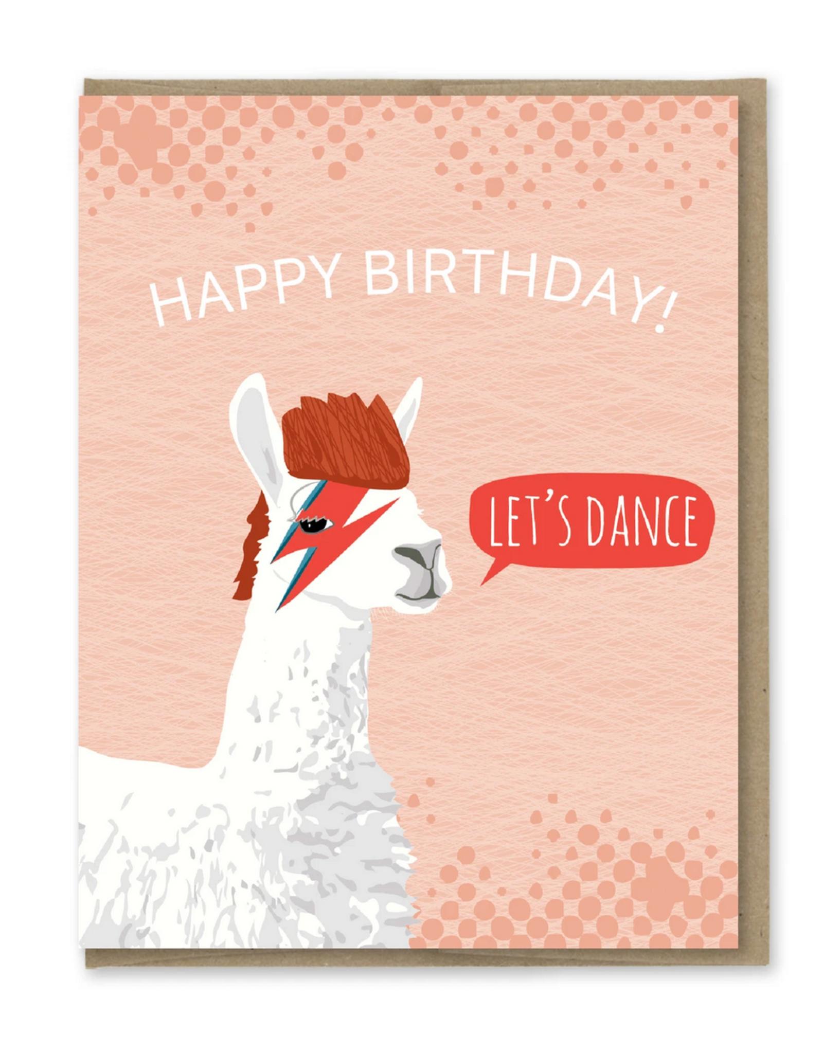 Happy Birthday Bowie Llama Greeting Card