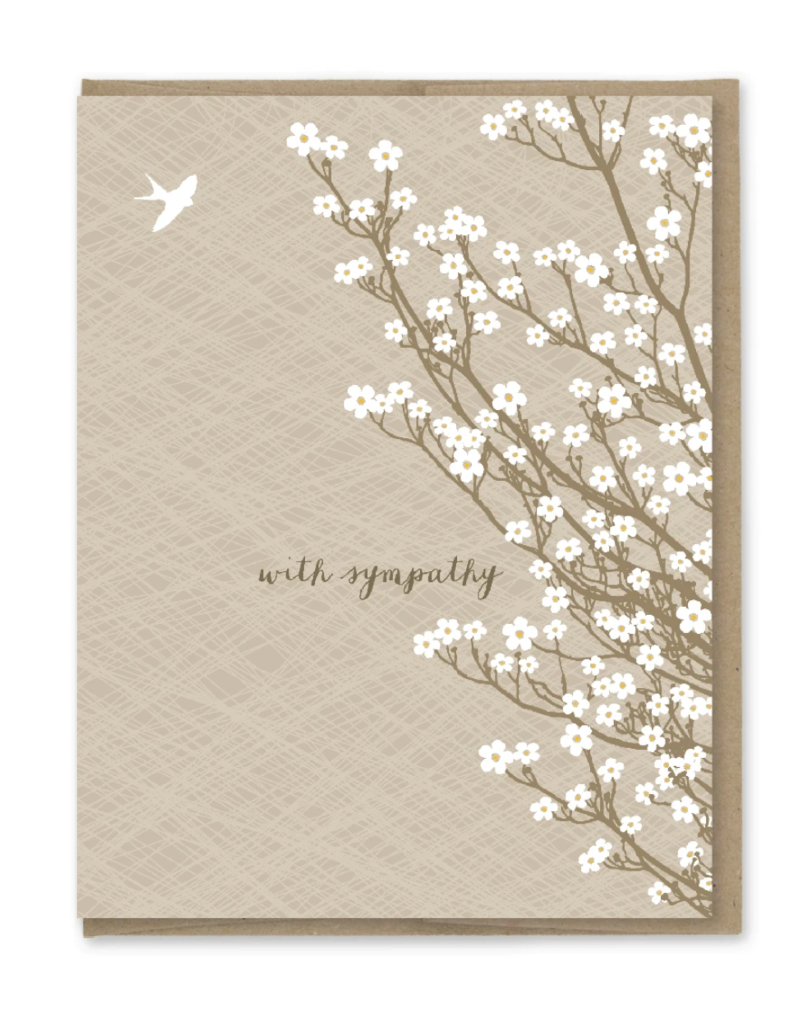 With Sympathy White Tree Blossoms Greeting Card