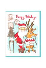 Happy Holidays Santa and Rudolph Card