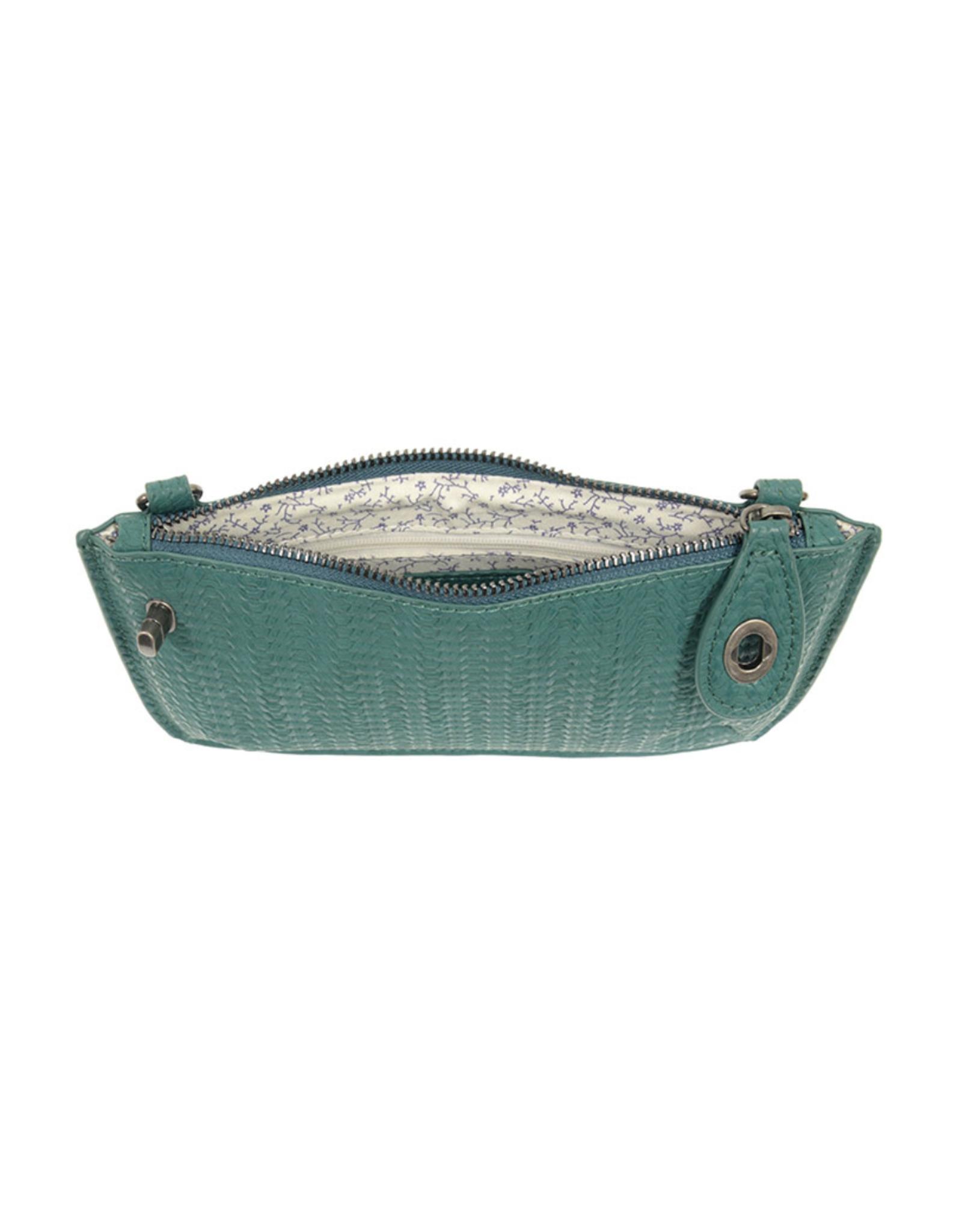 Woven Crossbody Wristlet : Turquoise