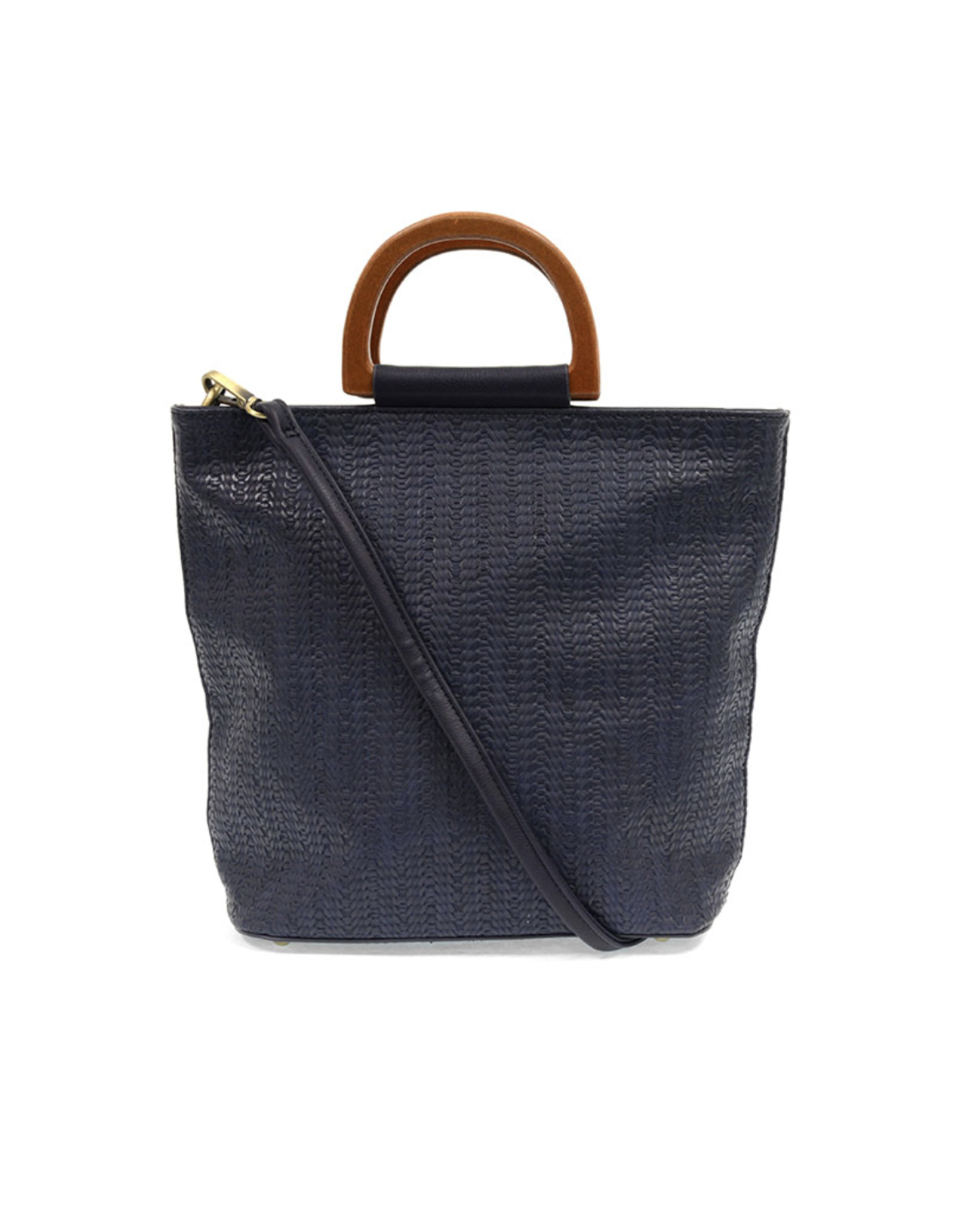 Lily Woven Wooden Handle Tote : Navy