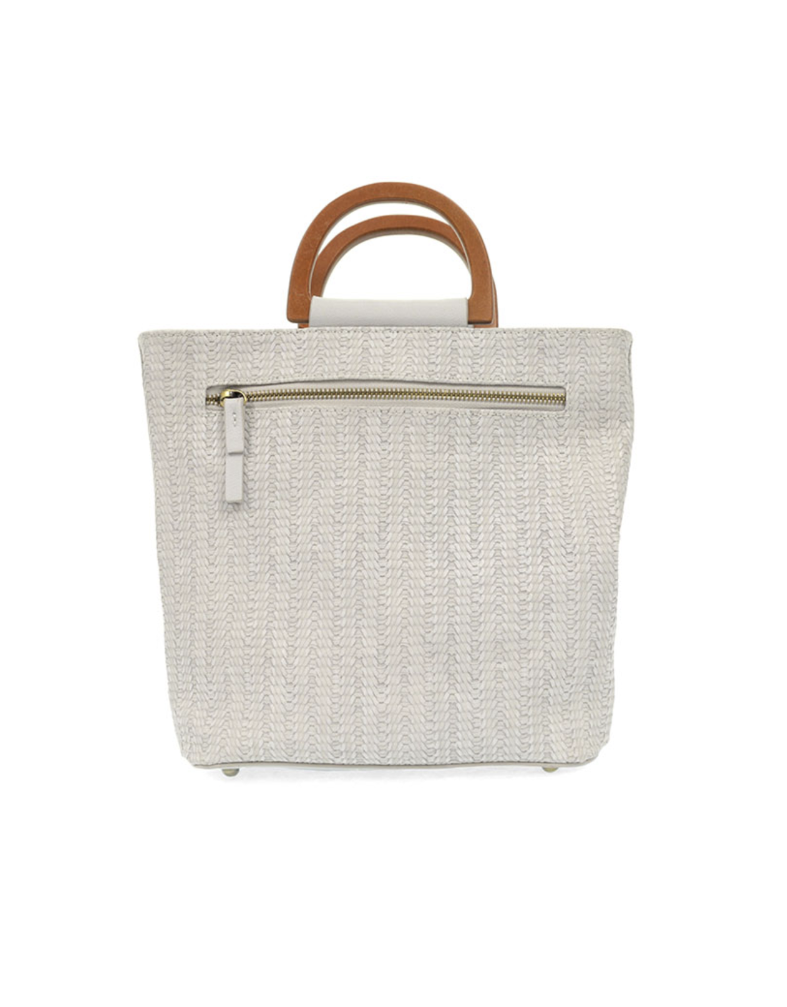 Lily Woven Wooden Handle Tote : Soft Grey