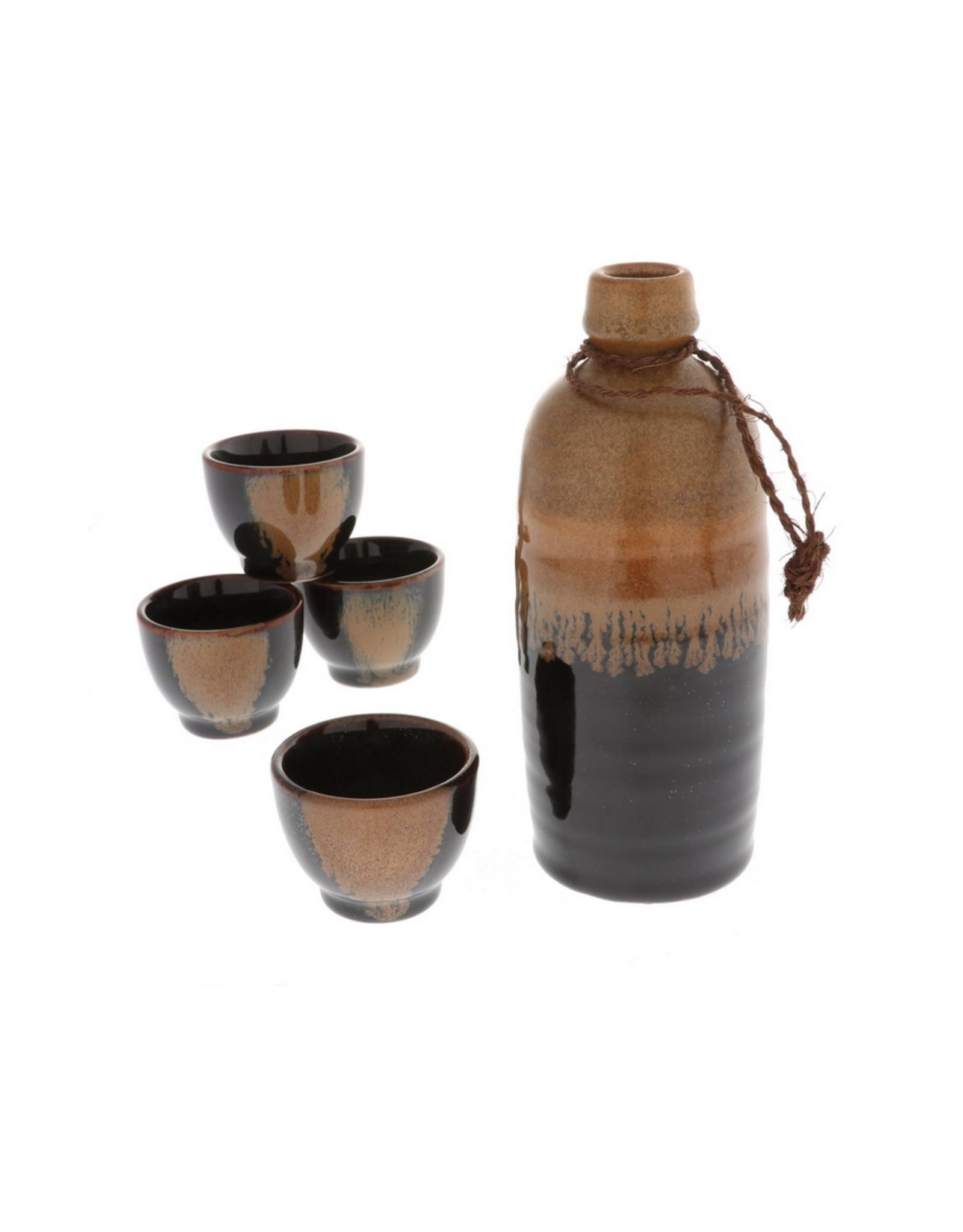 Brown Tenmoku Sake Set of 4