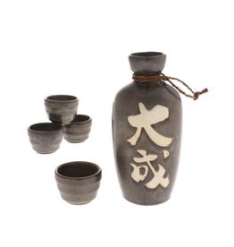 """Bronze """"Taisei"""" Great Accomplishment Sake Set of 4"""