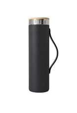 Matte Black Water Bottle with Strap - 20 oz