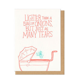 Lighter Than A Bag Of Onions (red) Greeting Card