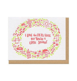 I Love The Pets First  (Lime) Greeting Card