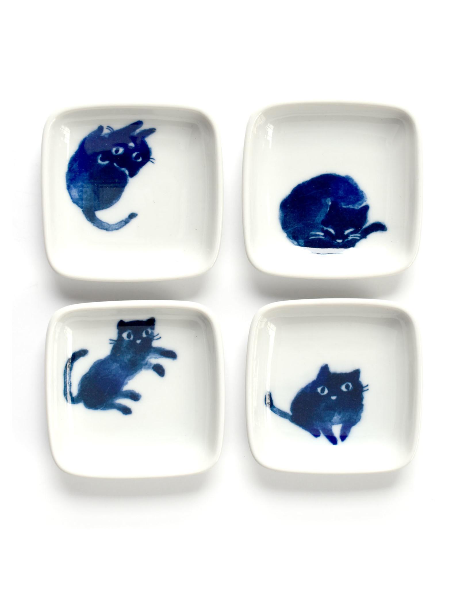 Square Indigo Cats Plate Set of 4