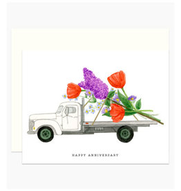 Happy Anniversary Floral Truck Greeting Card