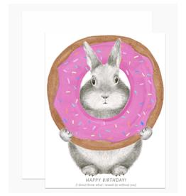Happy Birthday Donut Bunny Greeting Card