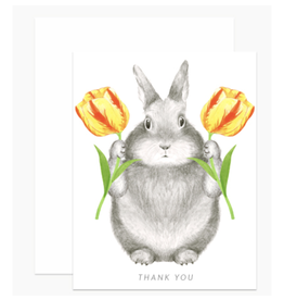 Thank You Bunny & Tulips Greeting Card