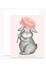 Happy Birthday Bud (Bunny & Pink Flower) Greeting Card