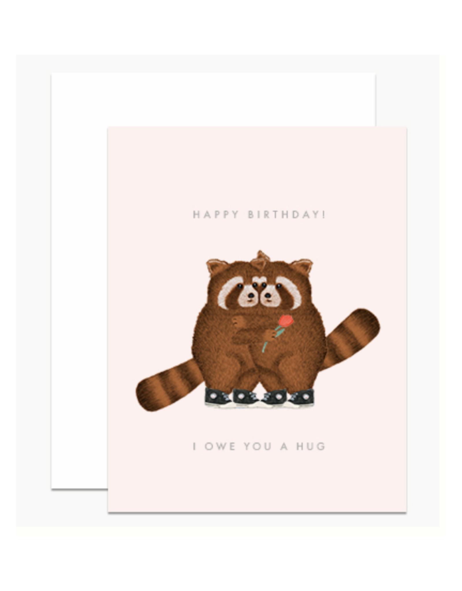 Birthday Hugs Raccoons Greeting Card