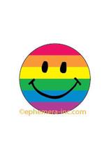 Pride Rainbow Smiley Face Button