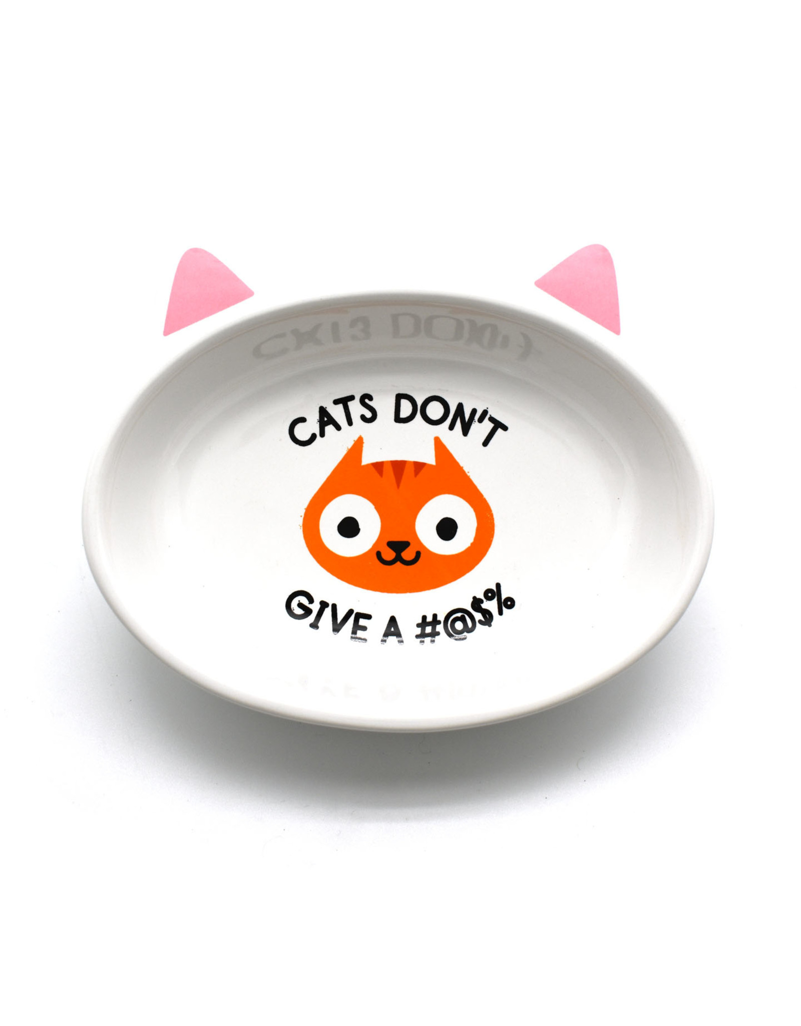 Cat's Don't Give A #*@$% Ceramic Cat Dish