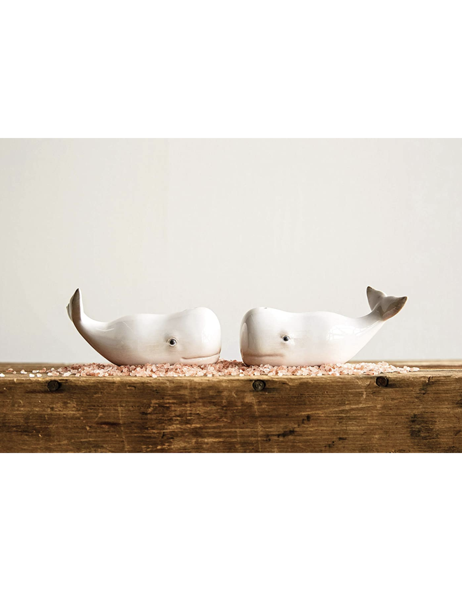 Ceramic Whale Salt & Pepper Shakers
