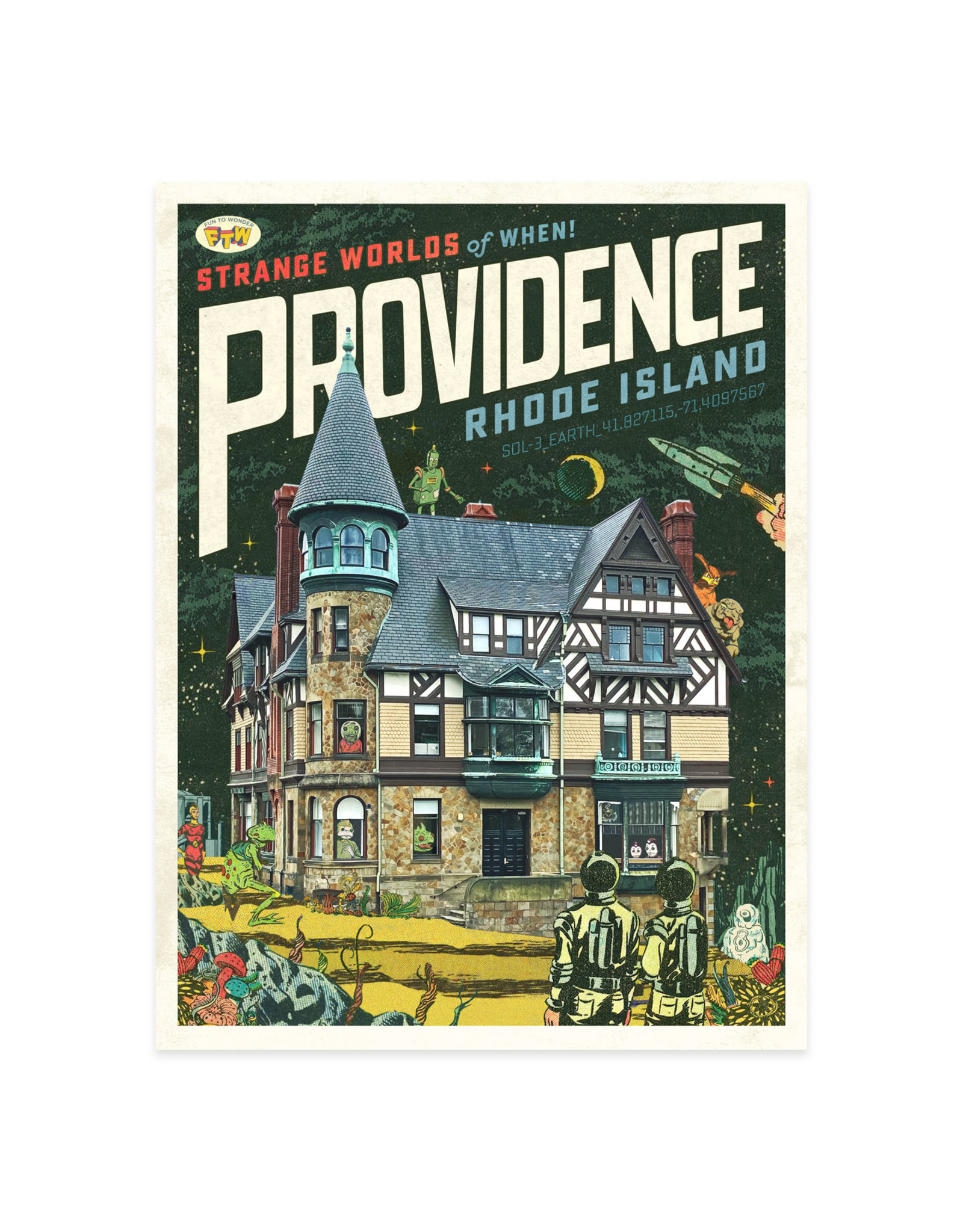 Strange Worlds of When! Postcard - Carr Haus