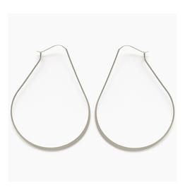 Teardrop Hoop Earrings - Silver