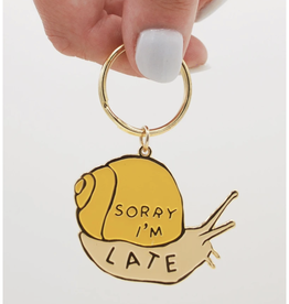 Sorry I'm Late Snail Enamel Keychain