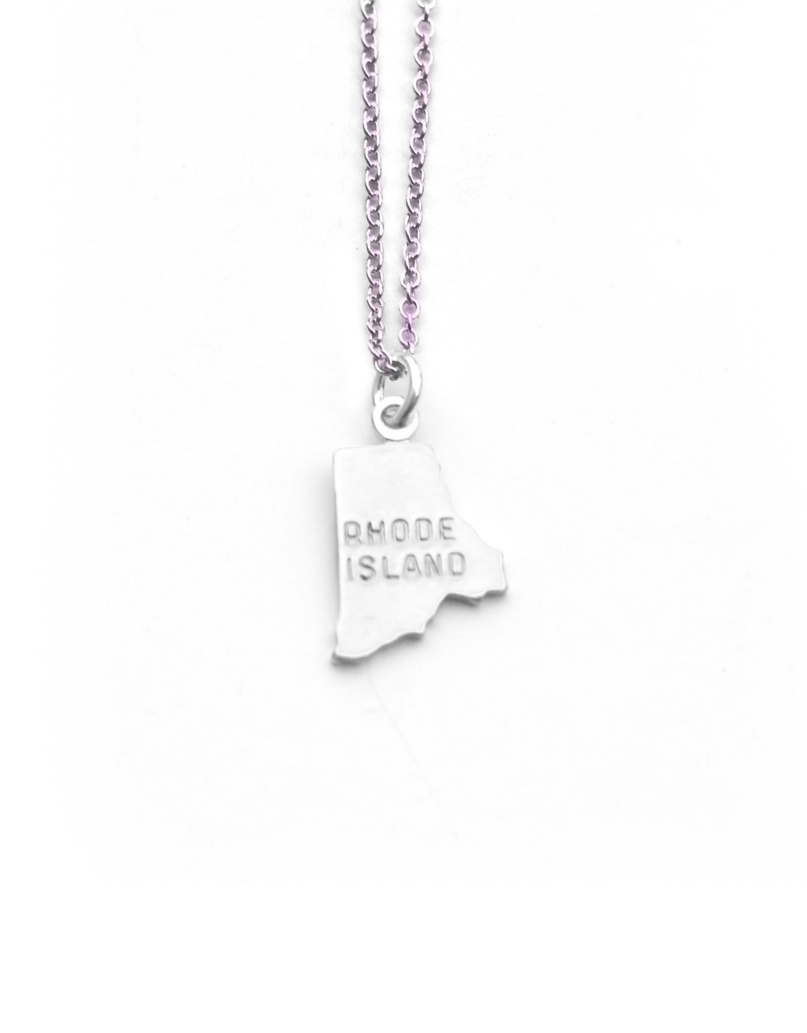 Tiny Silver Rhode Island Necklace
