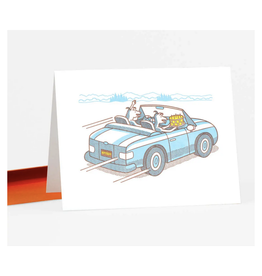 Dogs with Cake in Car Greeting Card