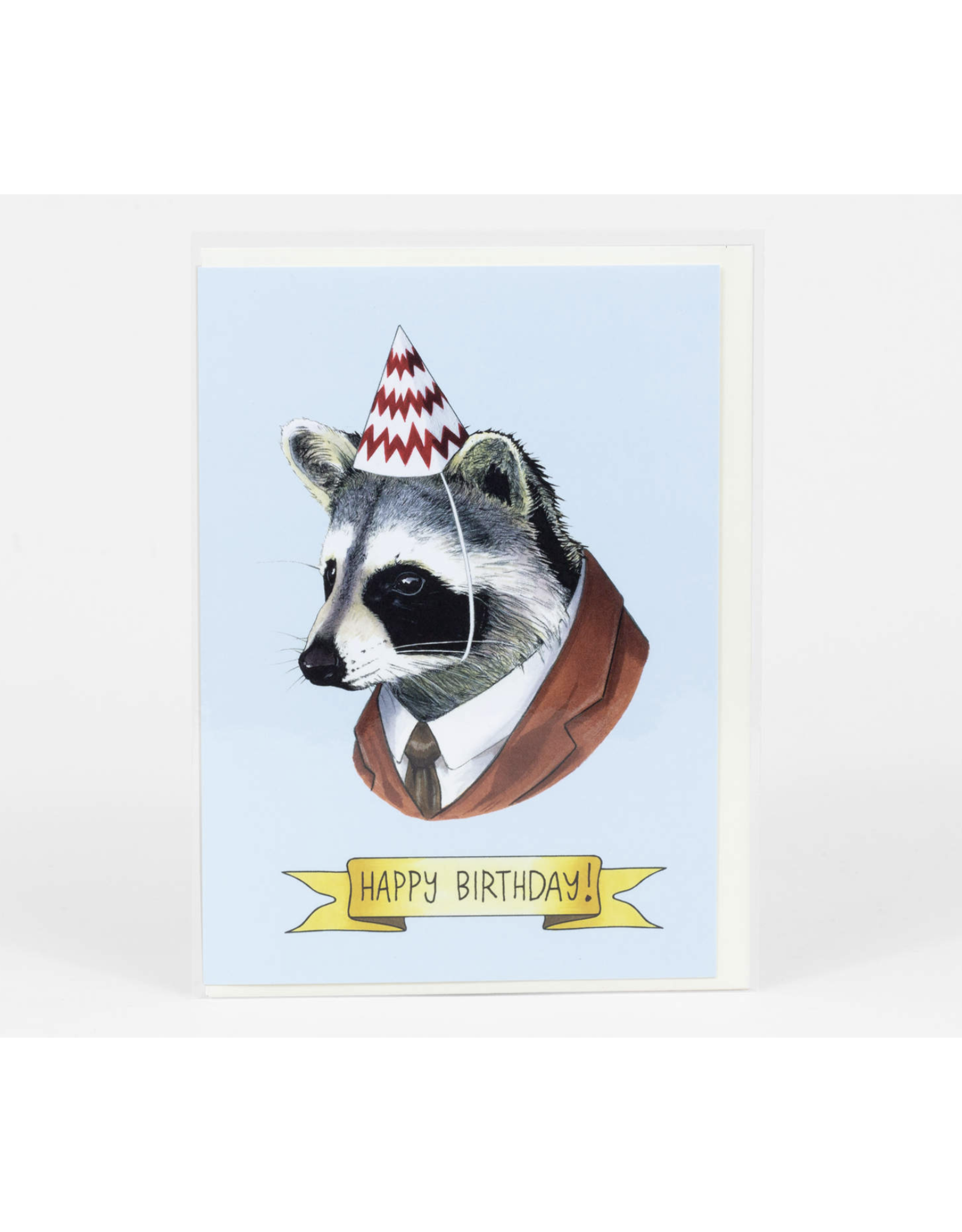 Happy Birthday Raccoon Party Hat Greeting Card