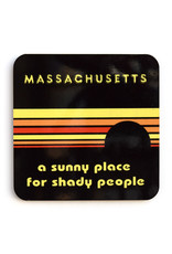 Massachusetts: A Sunny Place for Shady People Coaster (black) - Seconds Sale