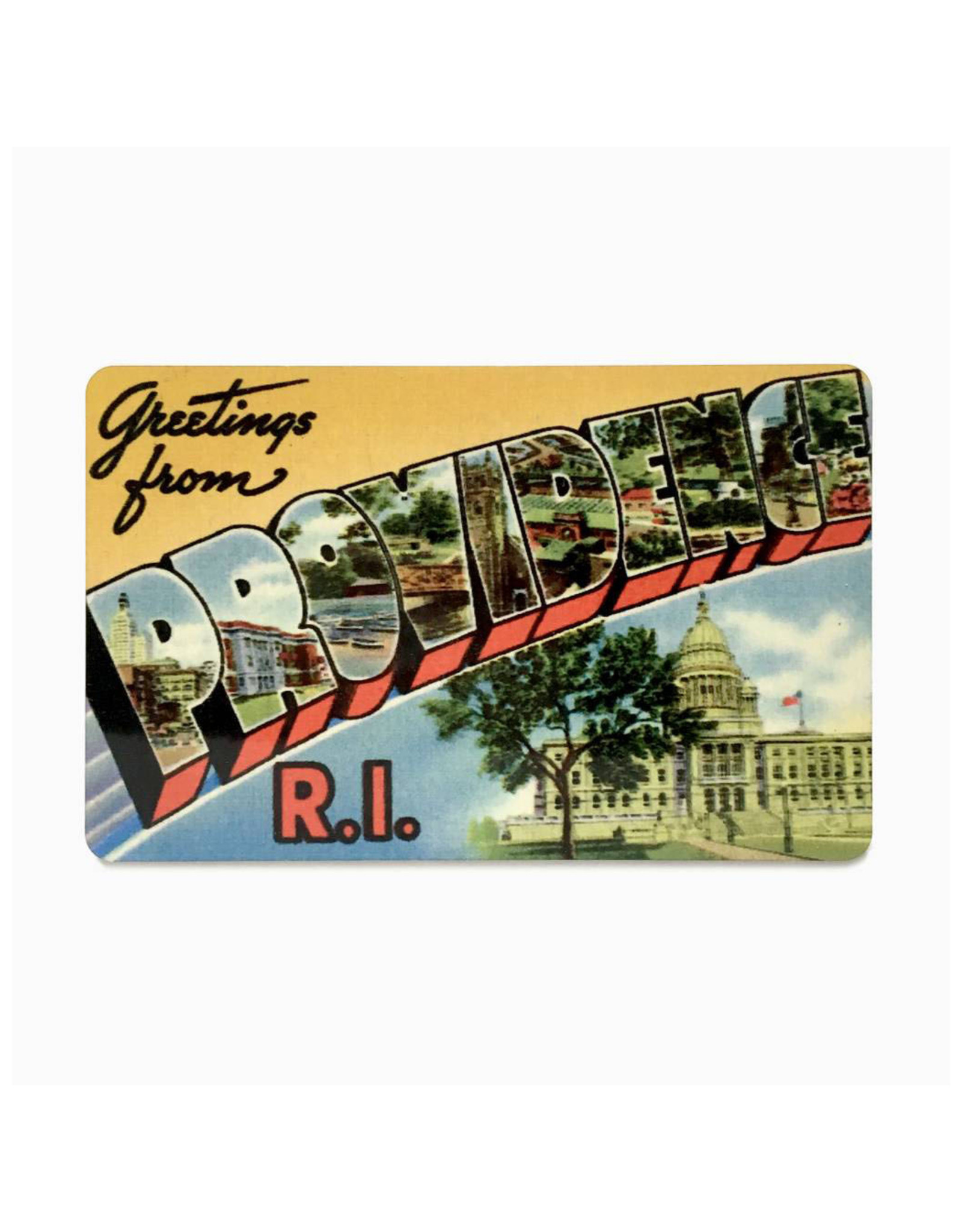 Greetings From Providence, RI Magnet - Yellow