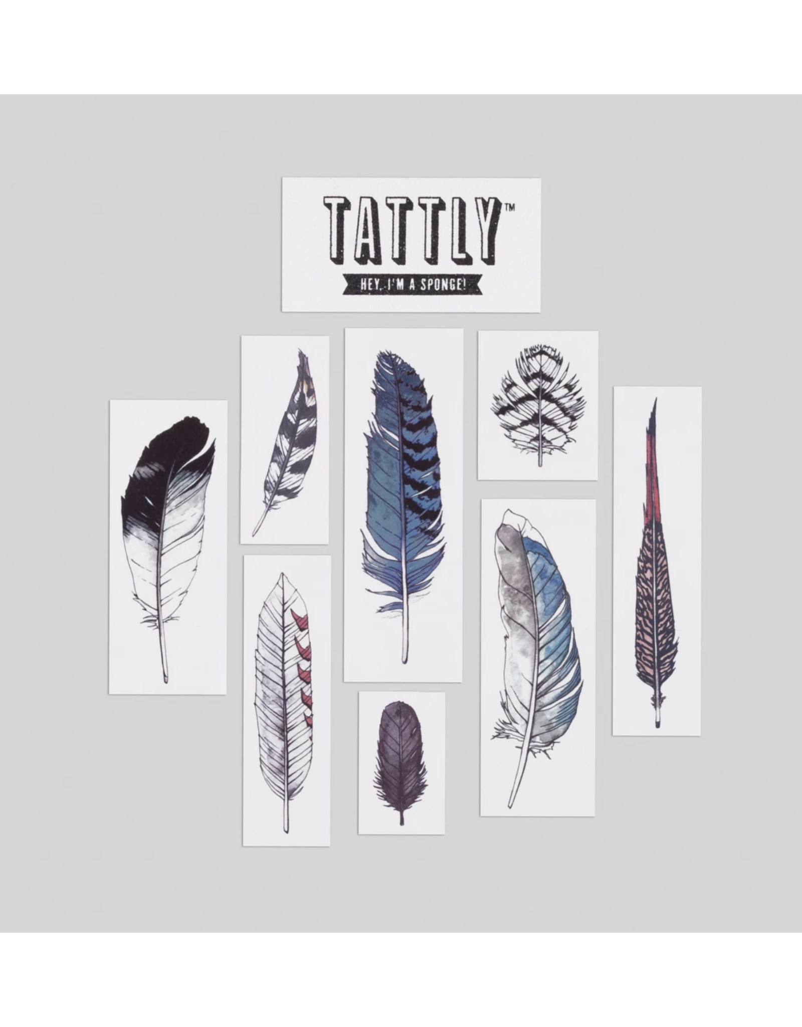 Watercolor Feather Tattoo Set