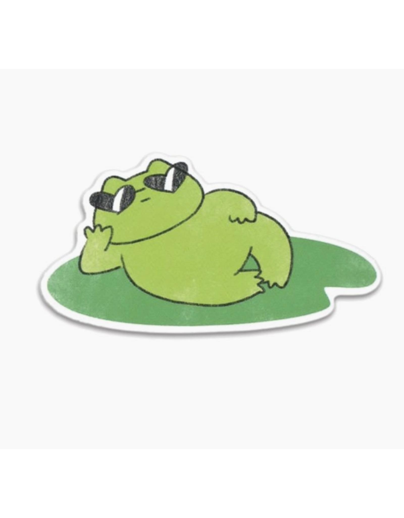 Cool Frog Lily Vinyl Sticker