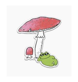 Cool Frog & Mushroom Vinyl Sticker