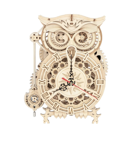 Owl Clock Mechanical Wooden Puzzle