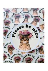Please Be Nice Cat Sticker