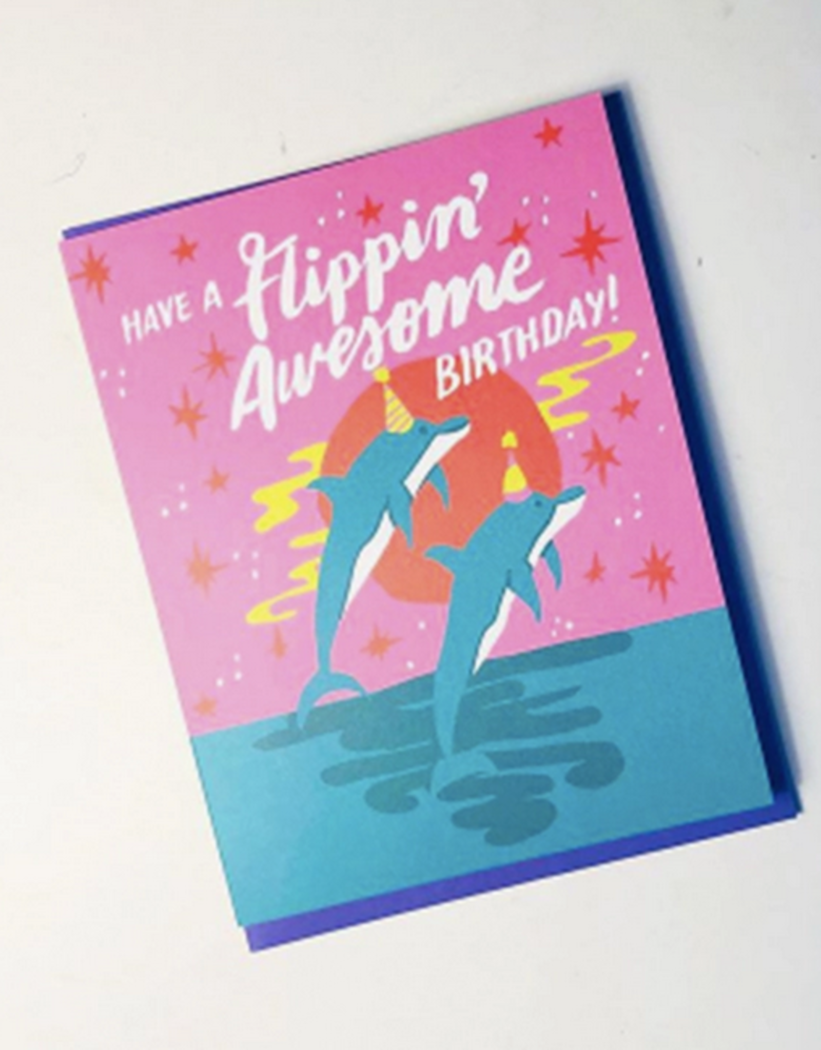 Flippin Awesome Birthday Dolphins Greeting Card