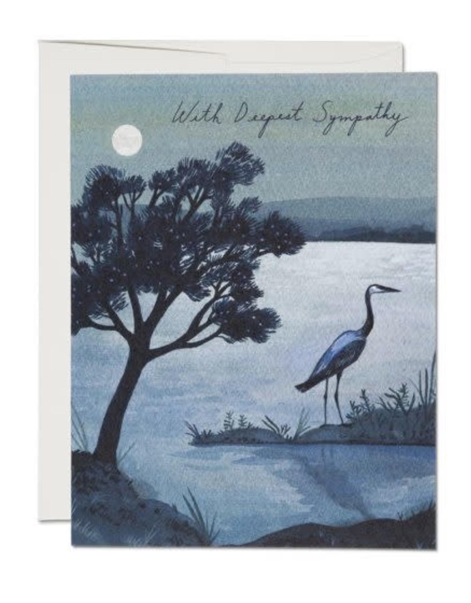 Blue Heron With Sympathy Greeting Card