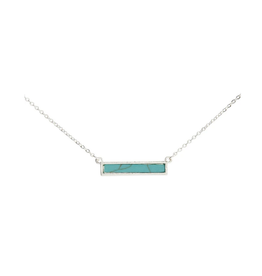 Silver Turquoise Bar Necklace