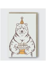 Grizzly Bear Birthday Cake Greeting Card