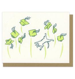 Graduation Caps/Cat (Green) Greeting Card
