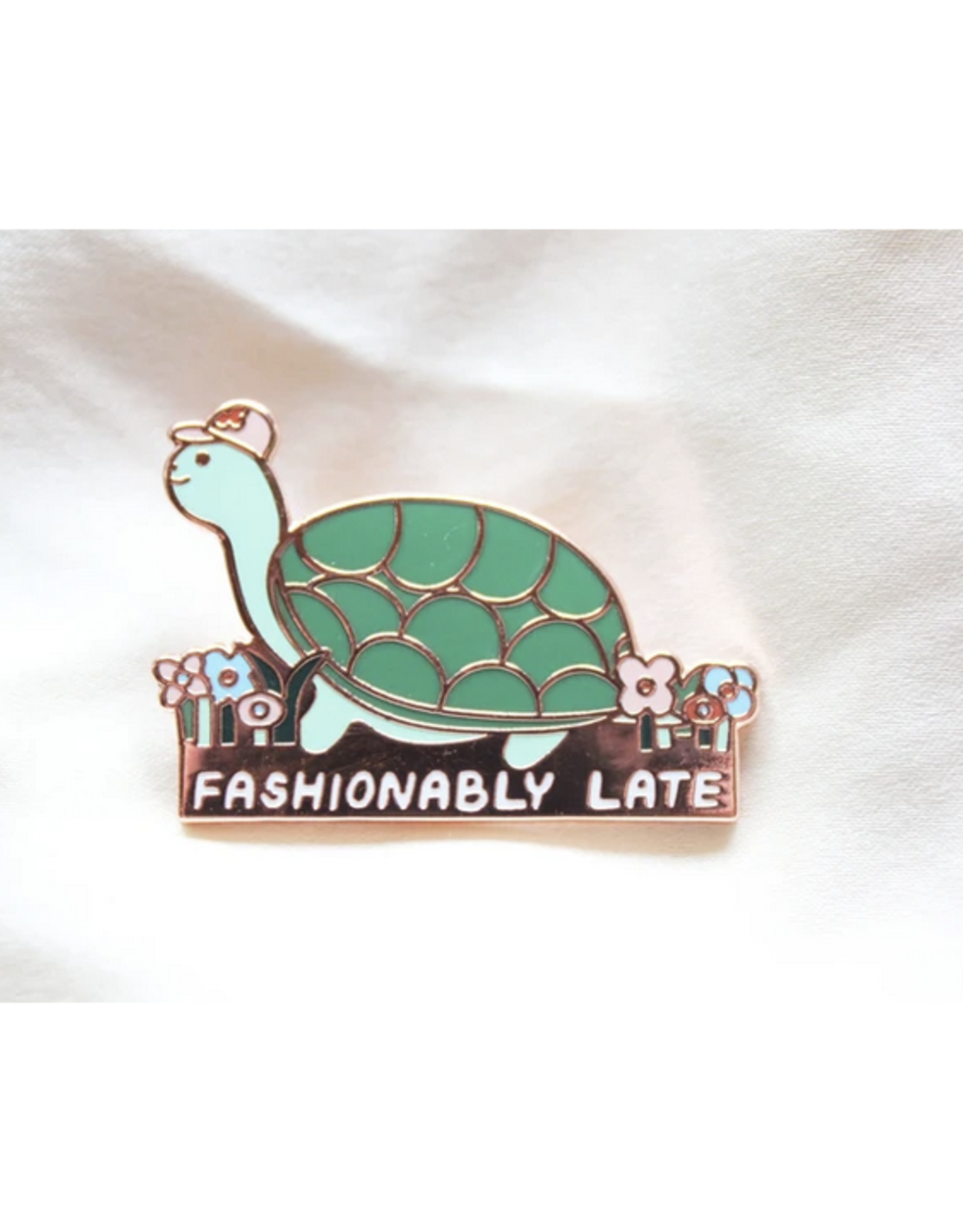 Fashionably Late Turtle Pin