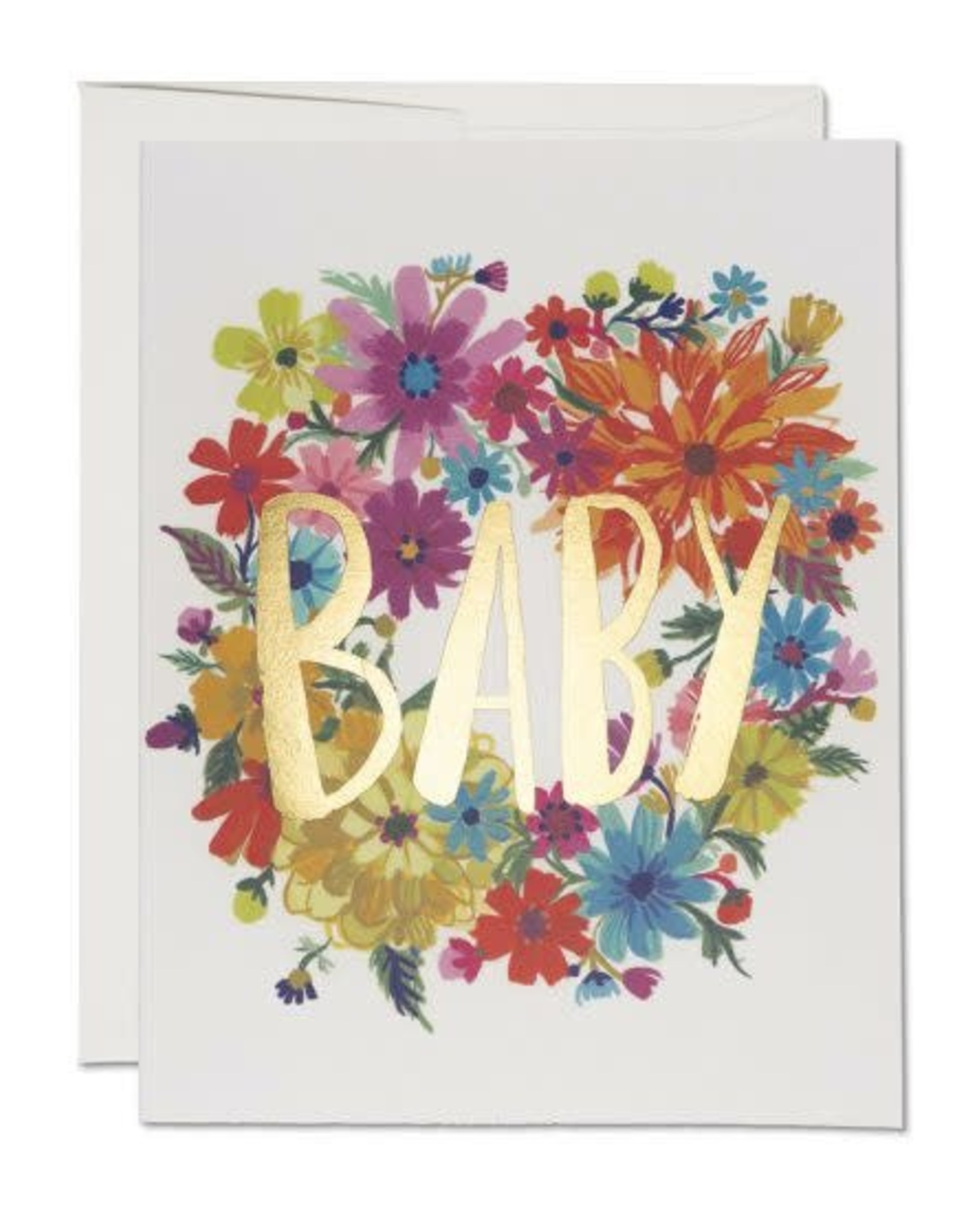 Baby Wreath Gold Foil Greeting Card