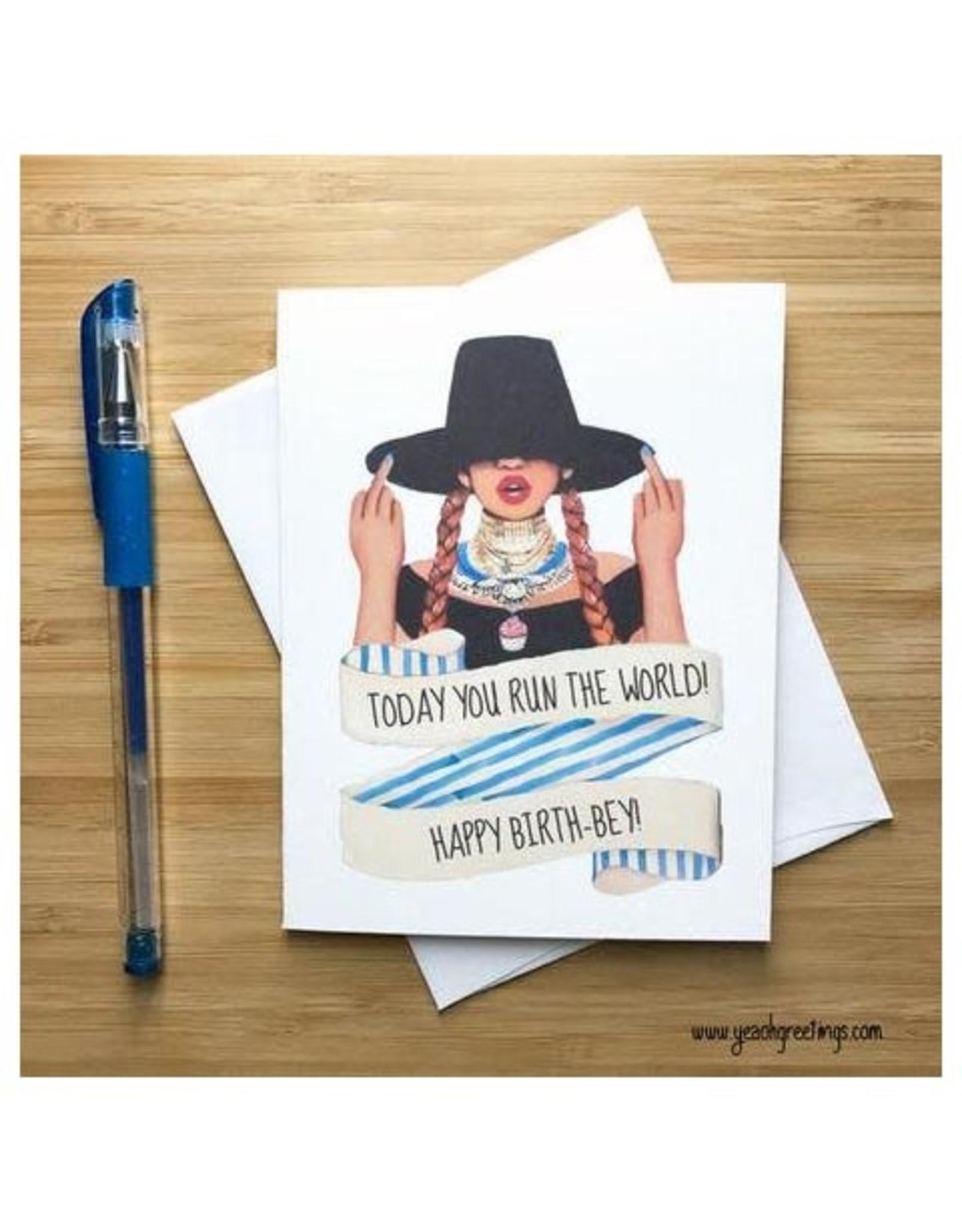 Run the World Birth-Bey Greeting Card