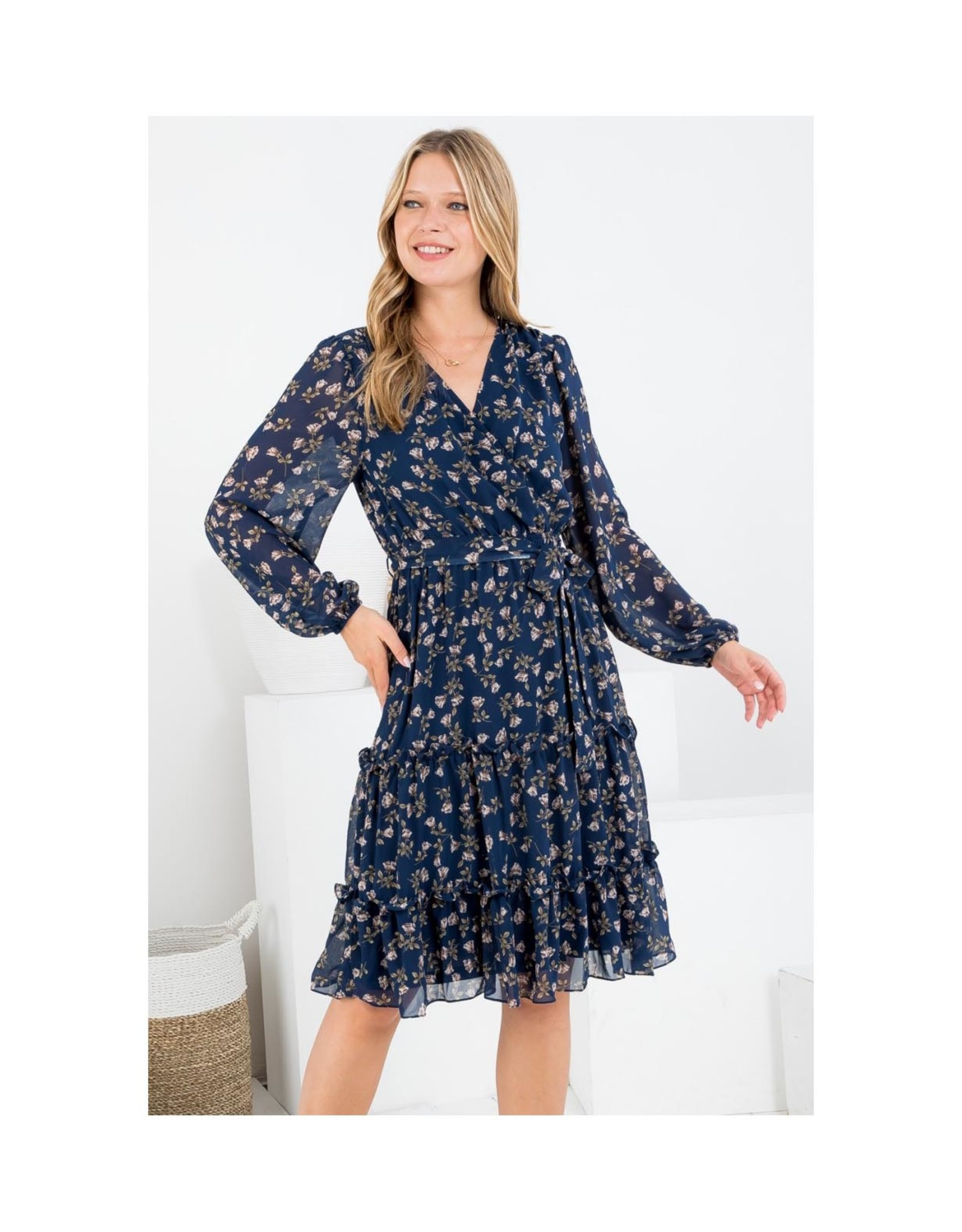 Floral Long Sleeve Tier Dress