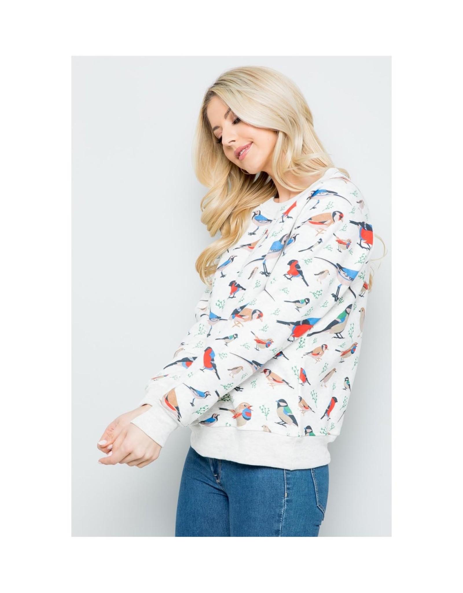 Pretty Bird Print Sweatshirt