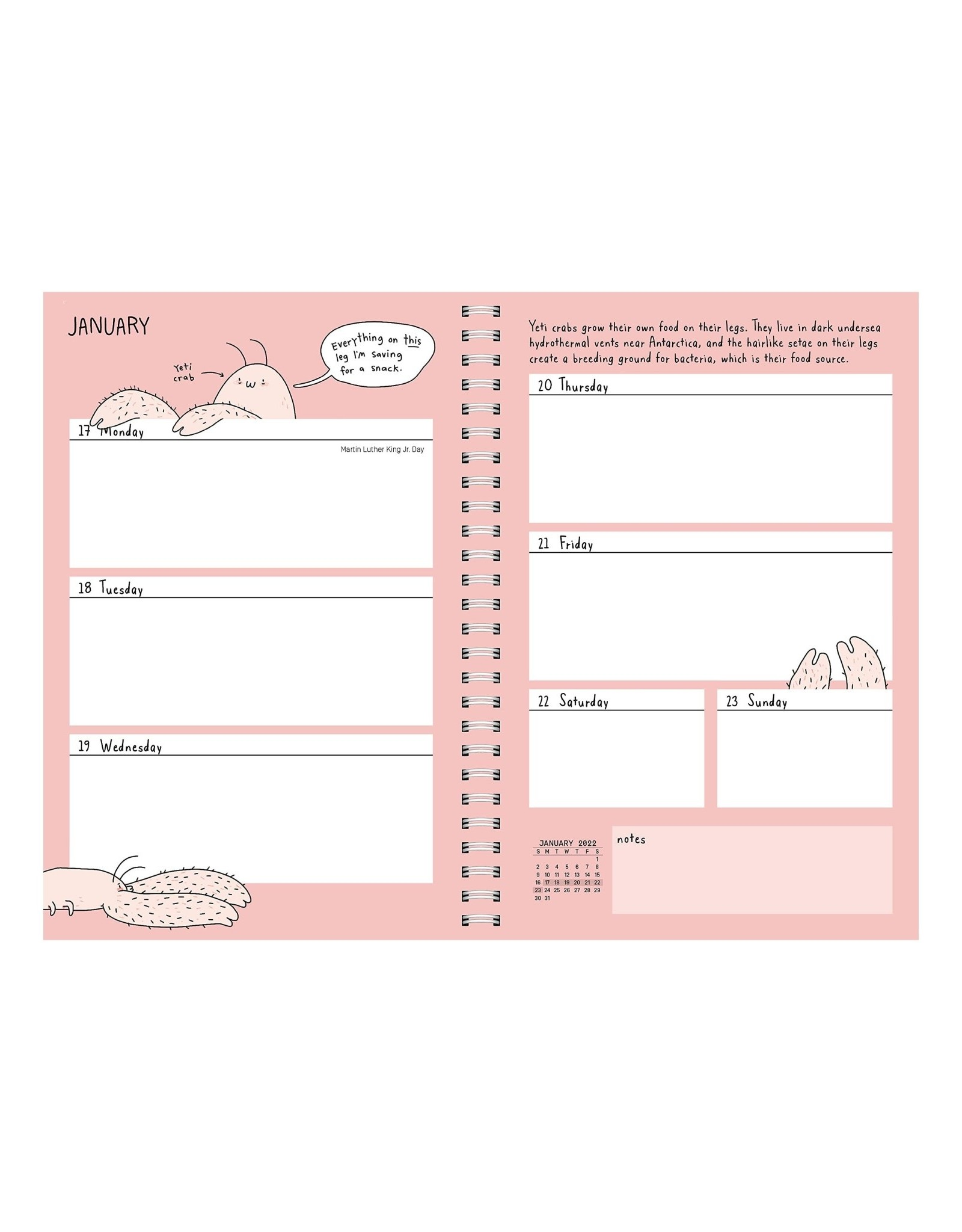 Sad Animal Facts 2022 Weekly Planner