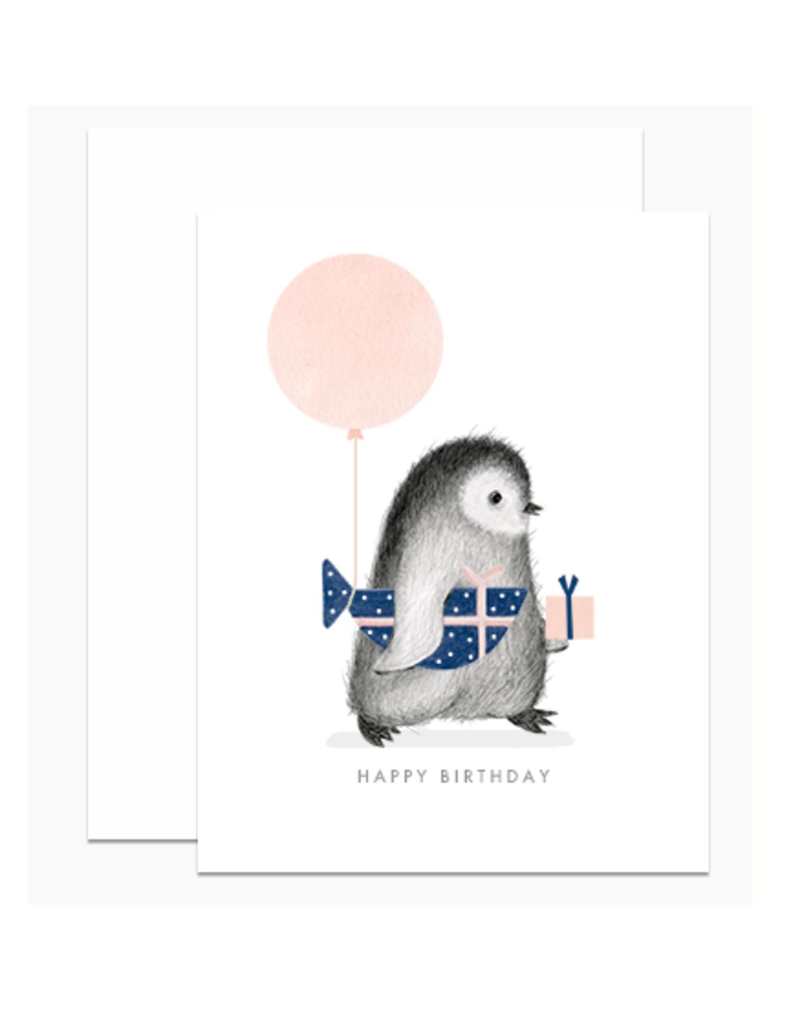 Birthday Penguin & Fish Greeting Card